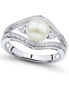 Cultured Freshwater Button Pearl (7mm) & Diamond Accent Ring in Sterling Silver