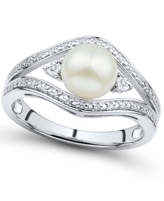 Macy's - Cultured Freshwater Button Pearl (7mm) & Diamond Accent Ring in Sterling Silver
