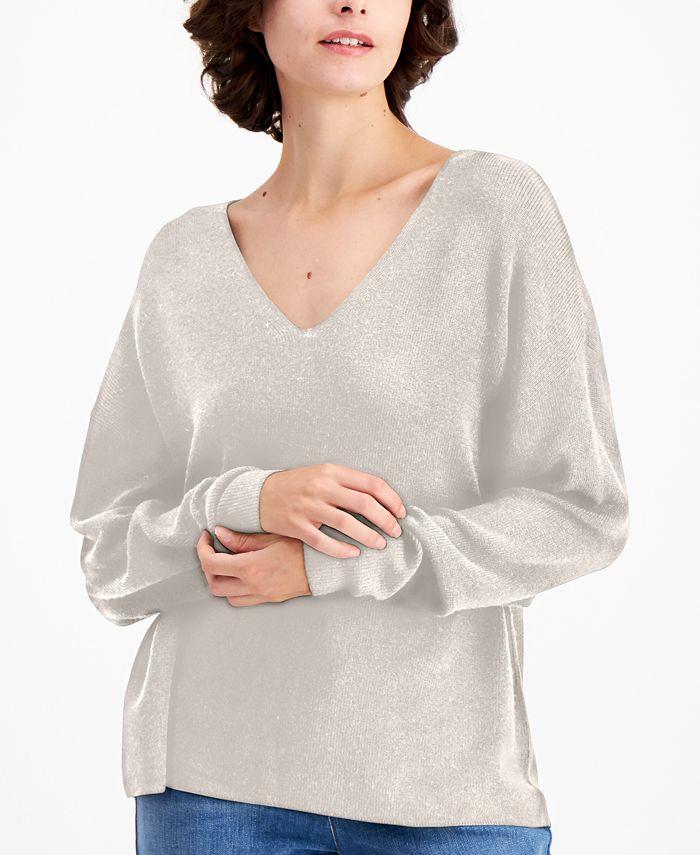 Eileen Fisher - V-Neck Drop-Shoulder Sweater