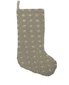 "Mod Lifestyles  Ogee Beaded Velvet Christmas Stocking, 8"" X 22"""