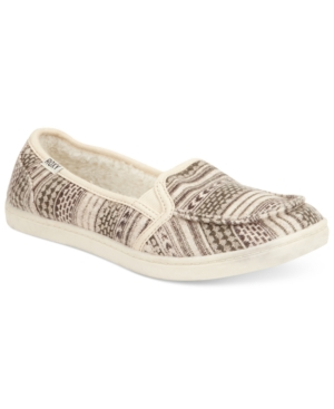 Roxy Lido Skimmer Faux-Fur Flats Womens Shoes