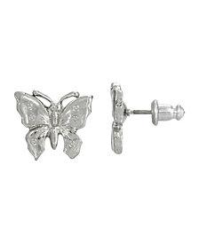 2028 Women's Silver Tone Petite Butterfly Post Earrings