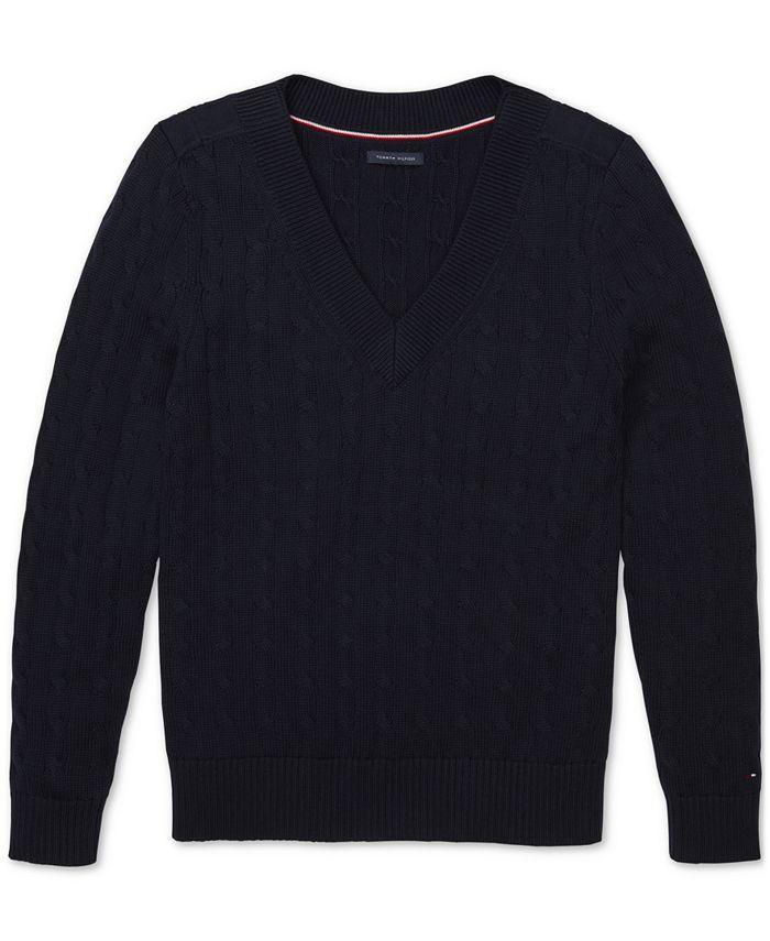 Tommy Hilfiger - Women's V-Neck Sweater with Velcro® Shoulder Closures