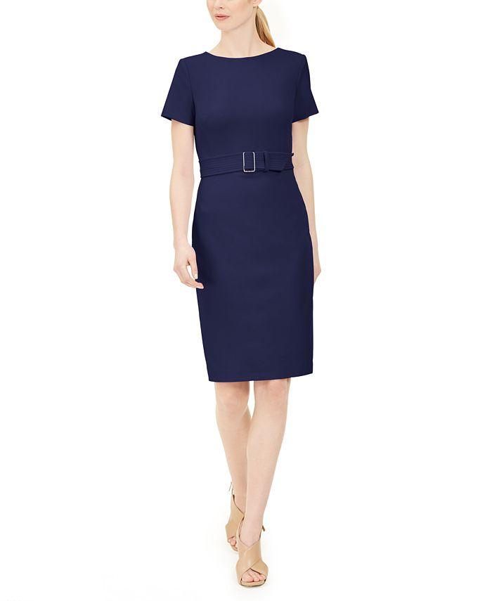 Calvin Klein - Short-Sleeve Belted Sheath Dress