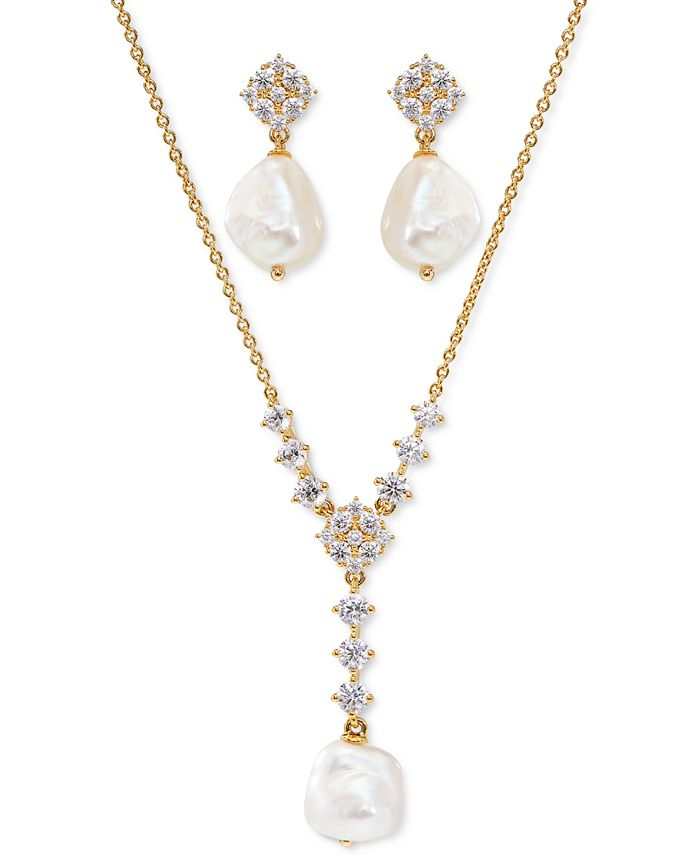 Eliot Danori - Cubic Zirconia & Imitation Pearl Lariat Necklace & Drop Earrings Set