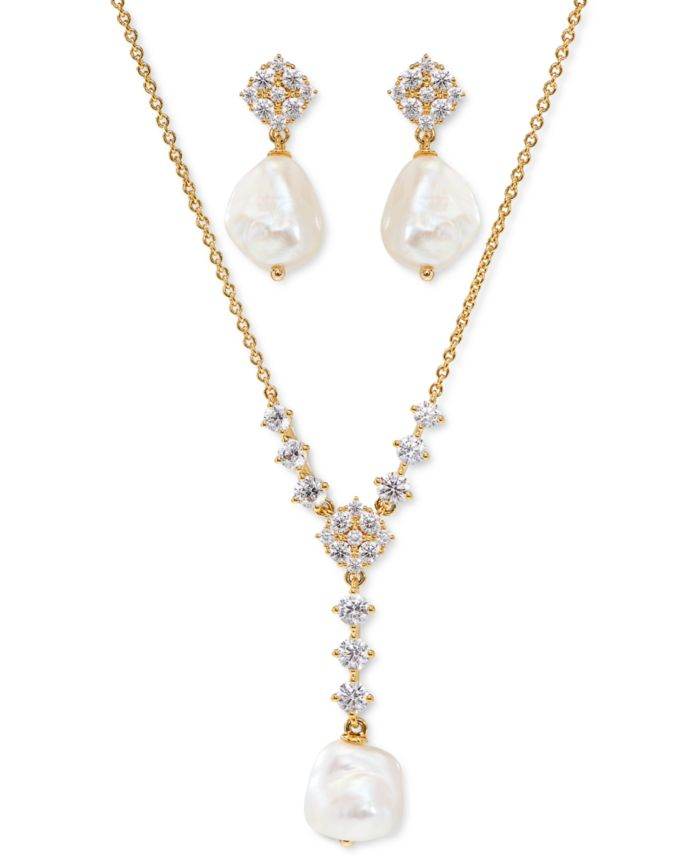 Eliot Danori Cubic Zirconia & Imitation Pearl Lariat Necklace & Drop Earrings Set, Created for Macy's  & Reviews - Earrings - Jewelry & Watches - Macy's