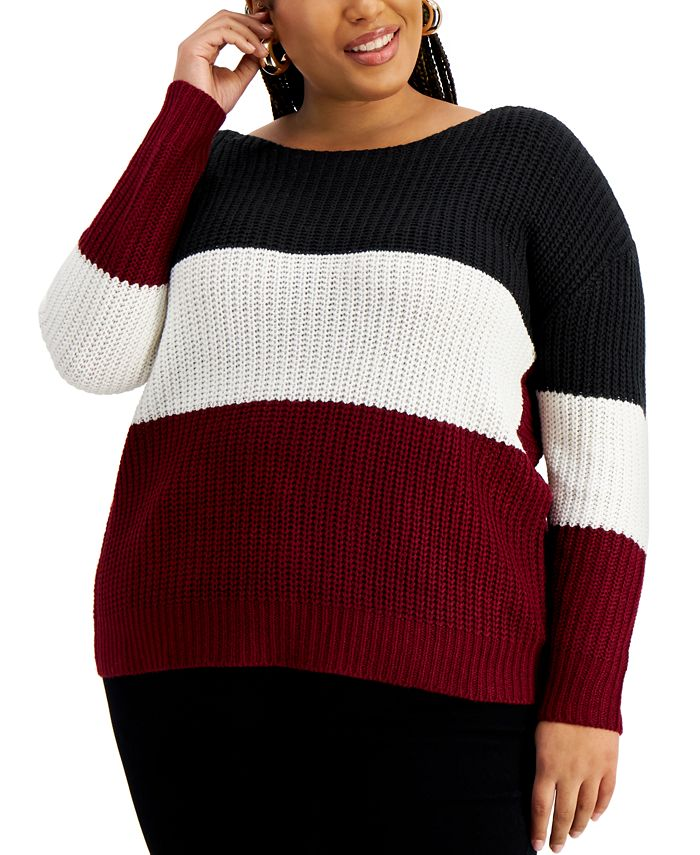 FULL CIRCLE TRENDS - Trendy Plus Size Reversible Twisted Sweater