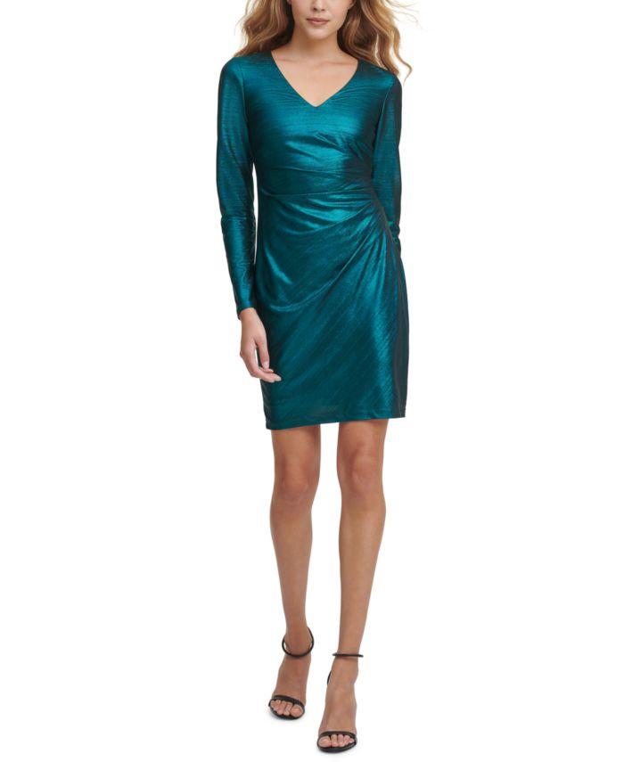 GUESS Metallic Side-Ruched Dress & Reviews - Dresses - Women - Macy's