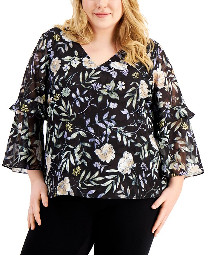 Calvin Klein - Plus Size Floral-Print Tiered-Sleeve Top