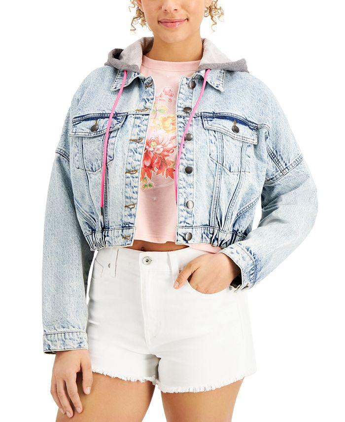 Tinseltown - Juniors' Cotton Hooded Denim Jacket