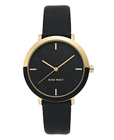 Nine West Women's Gold-Tone and Black Strap Watch, 36mm