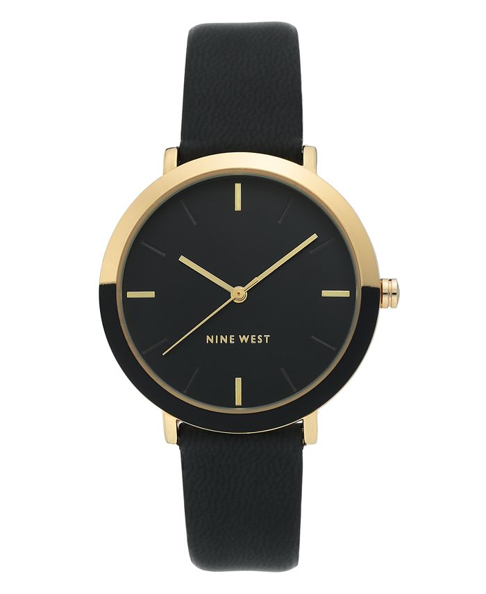 Nine West - Gold-Tone and Black Strap Watch, 36mm