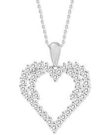 "Diamond Heart 18"" Pendant Necklace (3/4 ct. t.w.) in 14k White Gold"