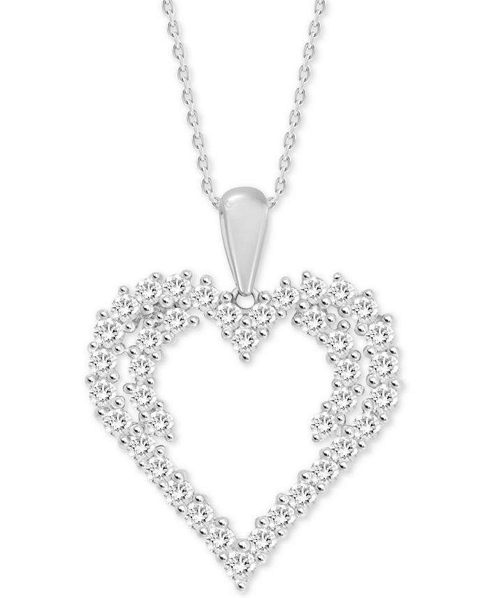 "Macy's - Diamond Heart 18"" Pendant Necklace (3/4 ct. t.w.) in 14k White Gold"