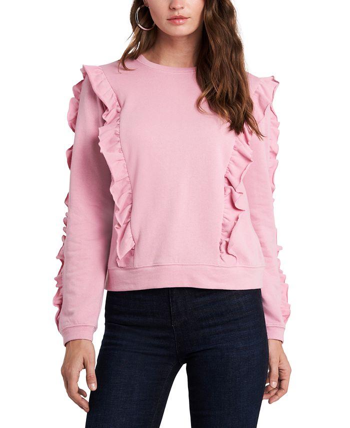 1.STATE - Ruffled Crew-Neck Sweatshirt
