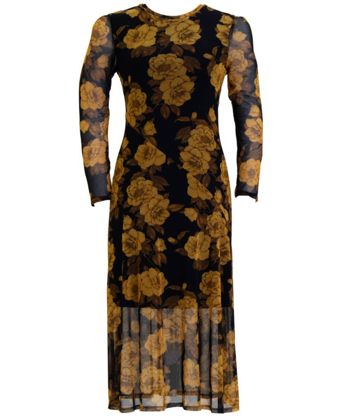 Connected Floral-Print Overlay Sheath Dress & Reviews - Dresses - Women - Macy's