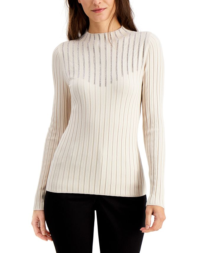 INC International Concepts - Embellished Mock-Neck Sweater