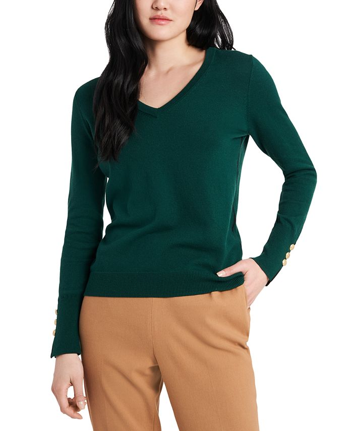 Riley & Rae - Clara Piped Button-Sleeve Sweater