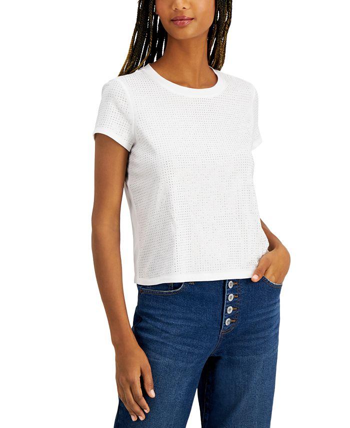 INC International Concepts - Plus Size Cotton Embellished Top