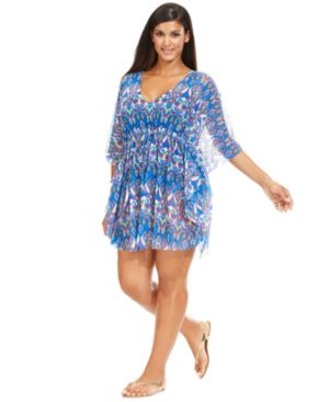 Becca Etc Plus Size Mesh Exotic-Print Cover Up Women's Swimsuit