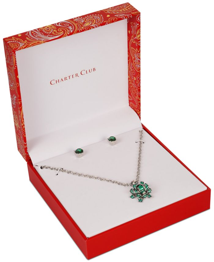Charter Club Gift Bow Pendant Necklace & Crystal Stud Earrings Set, Created for Macy's & Reviews - Fashion Jewelry - Jewelry & Watches - Macy's