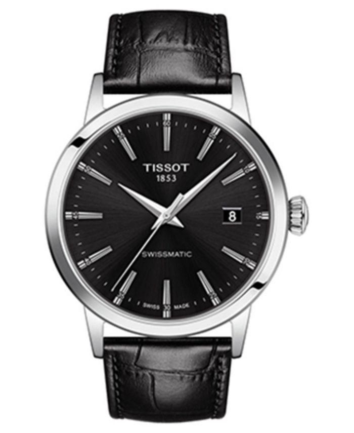 Tissot - Men's Swiss Automatic Classic Dream Black Leather Strap Watch 42mm