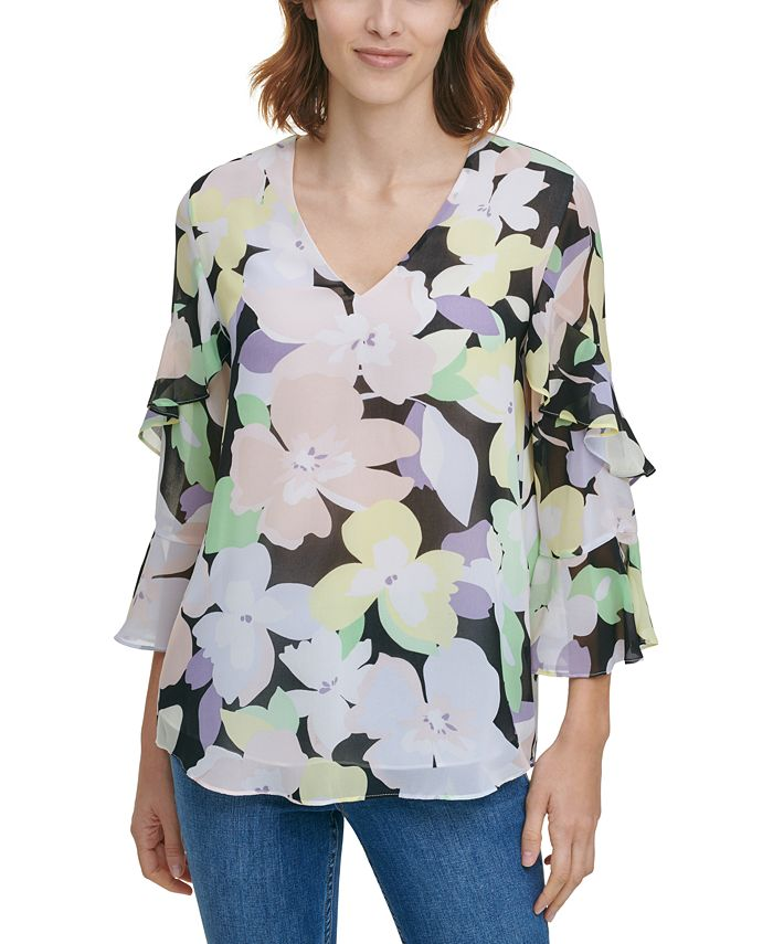 Calvin Klein - Printed Tiered-Sleeve Top