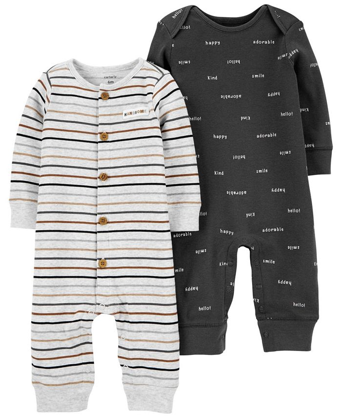 Carter's - Carters Baby Boy 2-Pack Cotton Jumpsuits