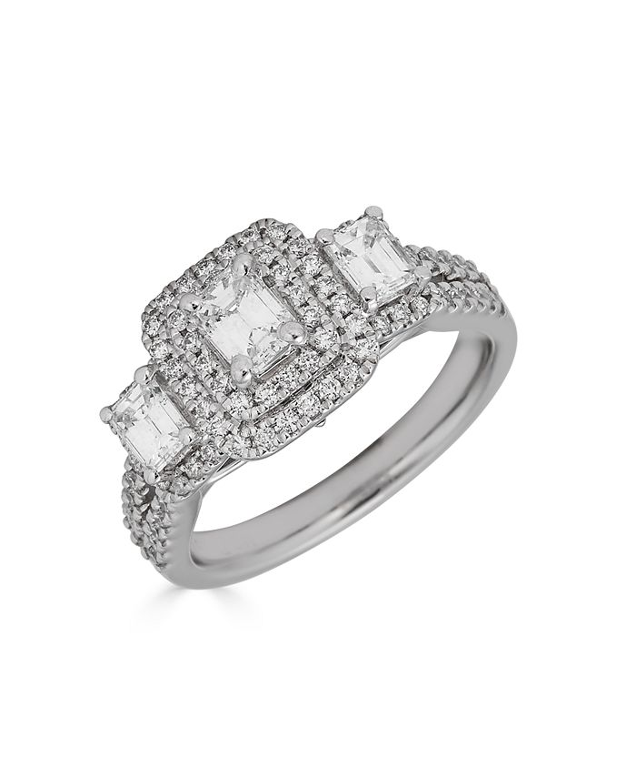 Macy's - Diamond 3-Stone Emerald Cut (1 1/3 ct. t.w.) Bridal Ring with Sapphire (1/10 ct. t.w.) in 14K White Gold