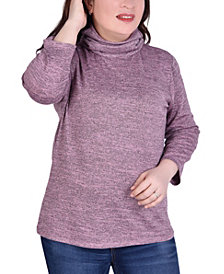 NY Collection Women's Plus Size 3/4 Sleeve Mask Top