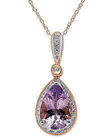 """Pink Amethyst (2-1/4 ct. t.w.) & Diamond (1/20 ct. t.w.) 18"""" Pendant Necklace in 14k Rose Gold"""