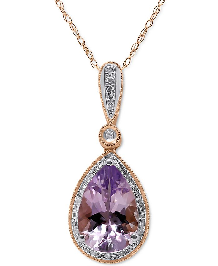 """Macy's - Pink Amethyst (2-1/4 ct. t.w.) & Diamond (1/20 ct. t.w.) 18"""" Pendant Necklace in 14k Rose Gold"""