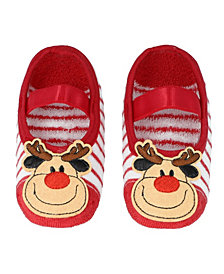 Baby Boys and Girls Anti-Slip Socks with Reindeer Applique