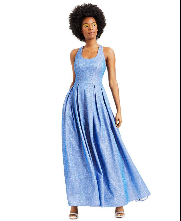 Morgan & Company - Juniors' Pleated Shine Gown