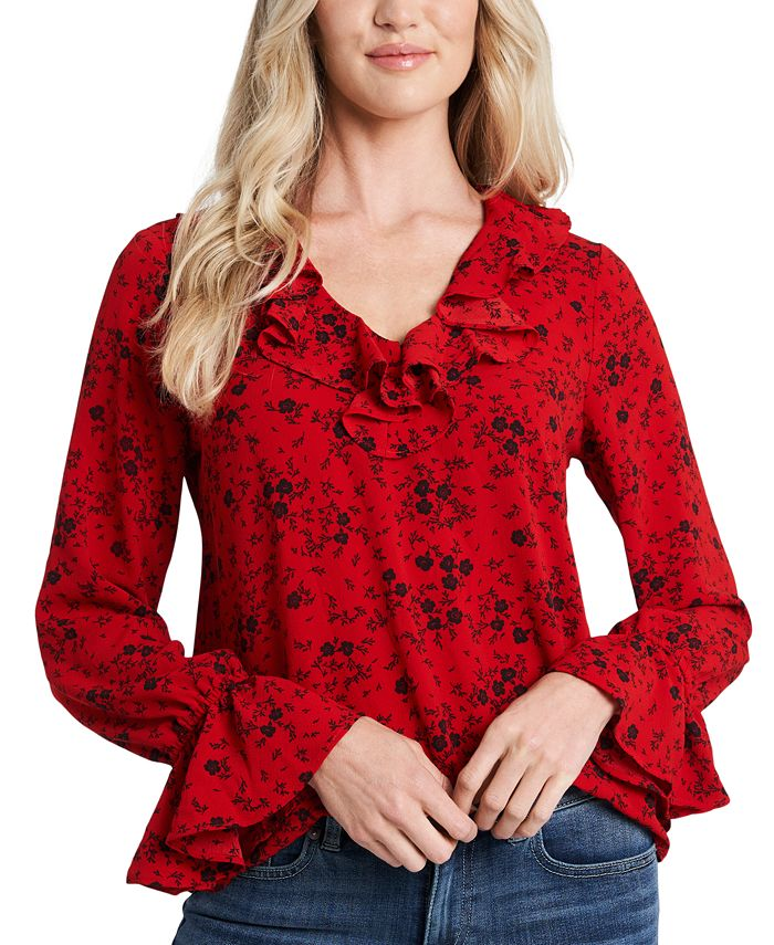 CeCe - Floral-Print Ruffled Blouse