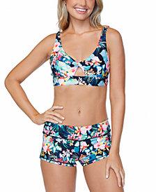 Raisins Juniors' Coconut Grove Printed Twist-Front Bikini Top & Surf Shorts