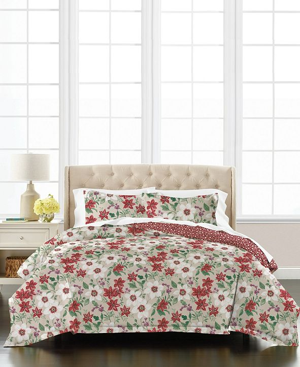 Martha Stewart Collection Floral Percale 3-Piece Full/Queen Comforter Set, Created for Macy's