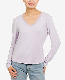 Hippie Rose Juniors' Lace-Trim V-Neck Top