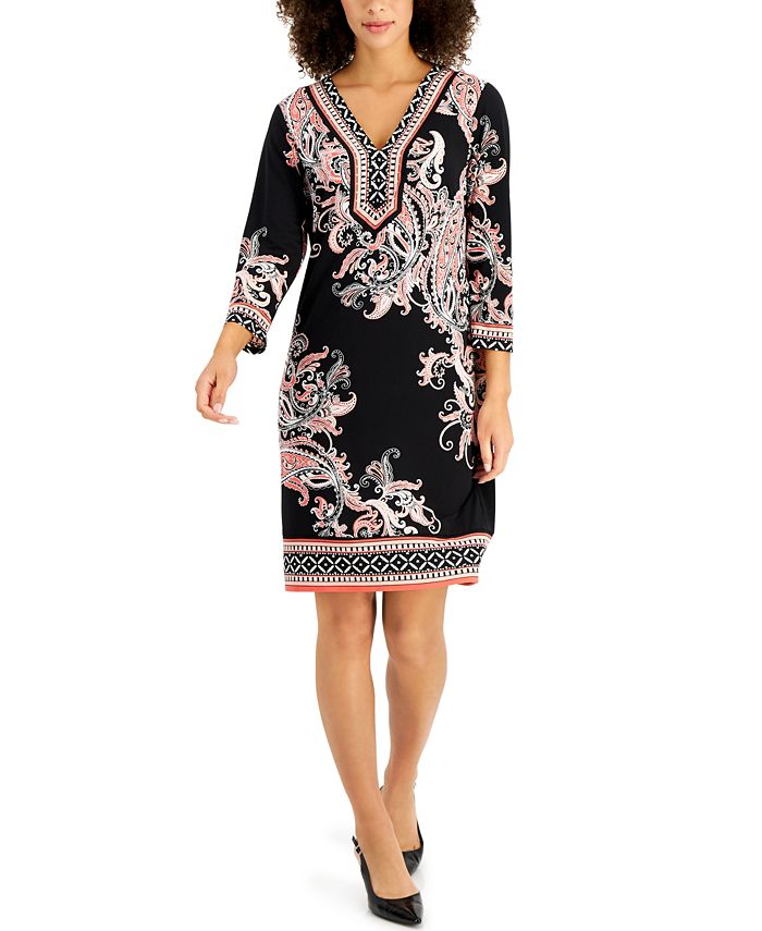 JM Collection - 3/4-Sleeve Printed Dress