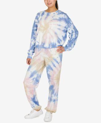 Juniors' Tie-Dye Long-Sleeved Sweatshirt