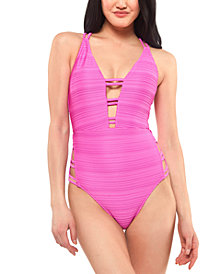 Jessica Simpson Ribbed Plunge Strappy One-Piece Swimsuit