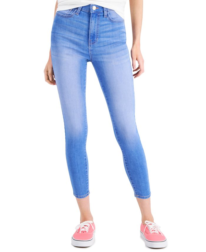 Celebrity Pink - Juniors' Cotton Valentina Curvy High-Rise Skinny Ankle Jeans