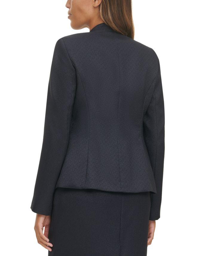 Calvin Klein Cropped Open Front Button Detail Blazer & Reviews - Jackets & Blazers - Women - Macy's
