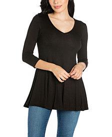Women's Three Quarter Sleeve V-Neck Tunic Top