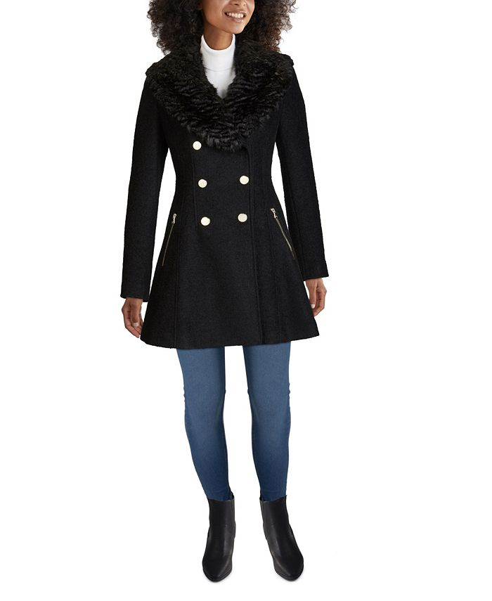 GUESS - Faux-Fur-Collar Skirted Coat