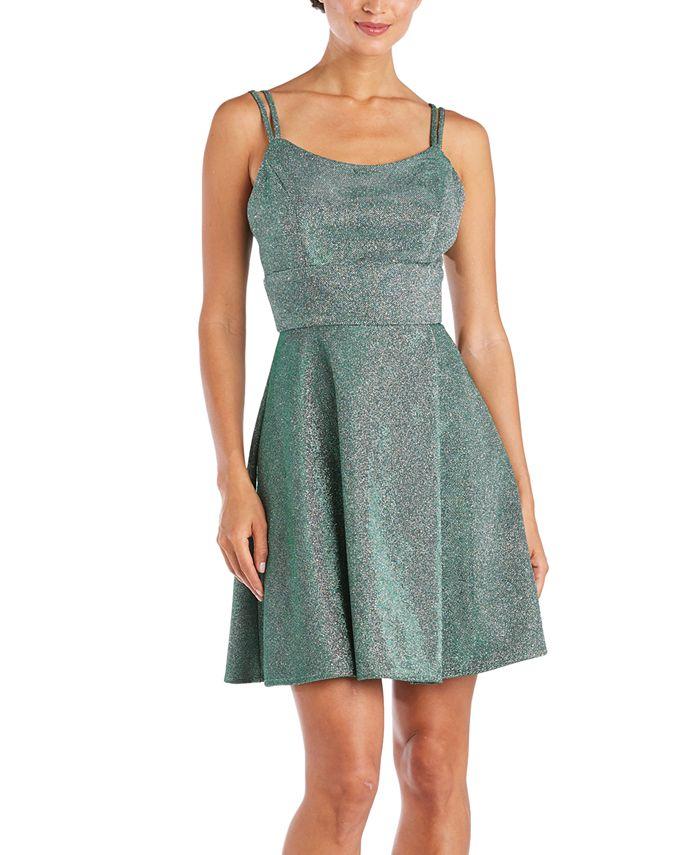 Morgan & Company - Juniors' Metallic Fit & Flare Dress