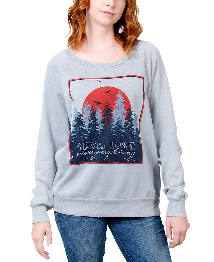 Rebellious One - Juniors' Never Lost Always Exploring Graphic Sweatshirt