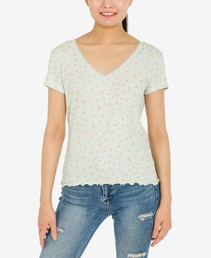 Hippie Rose - Juniors' Printed Lace-Trim T-Shirt
