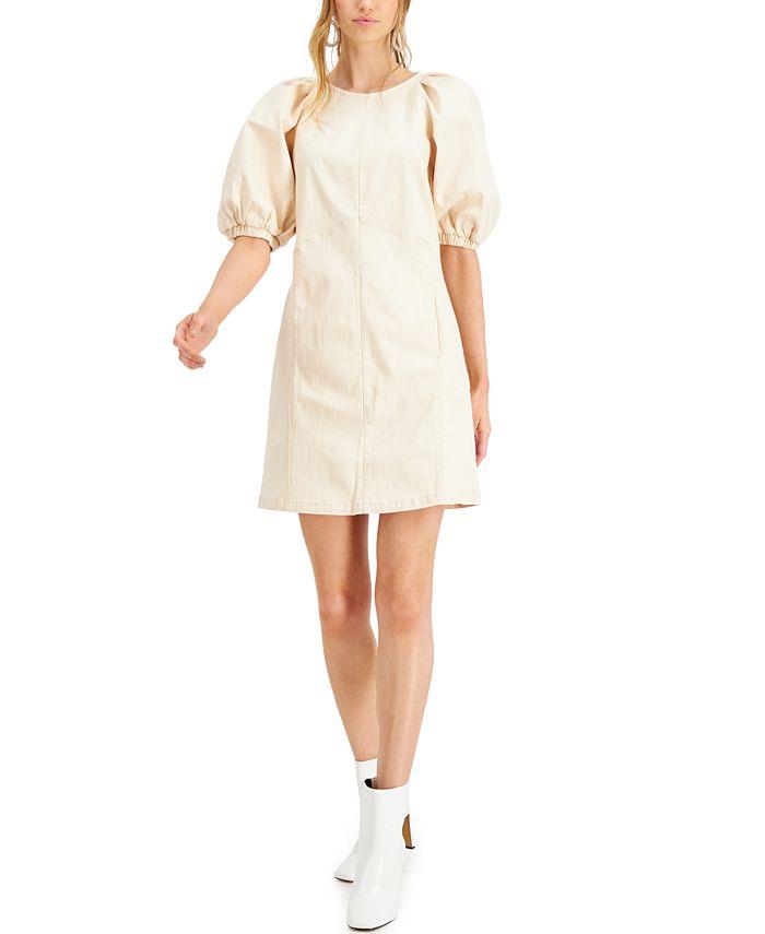 INC International Concepts - Puff-Sleeve Denim Mini Dress