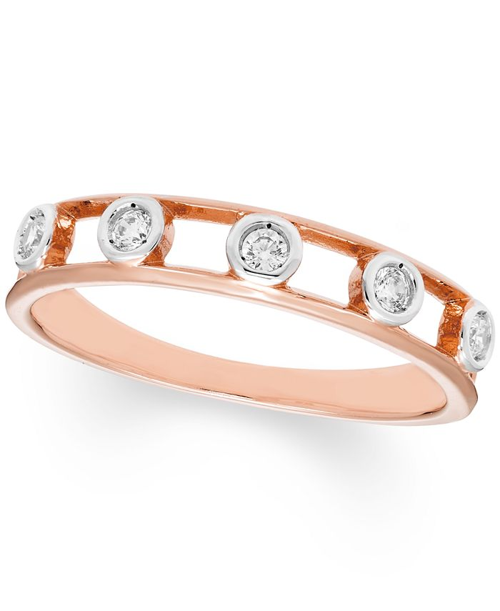 Macy's - Diamond Bezel Band (1/8 ct. t.w.) In 10K Rose , Yellow Or White Gold